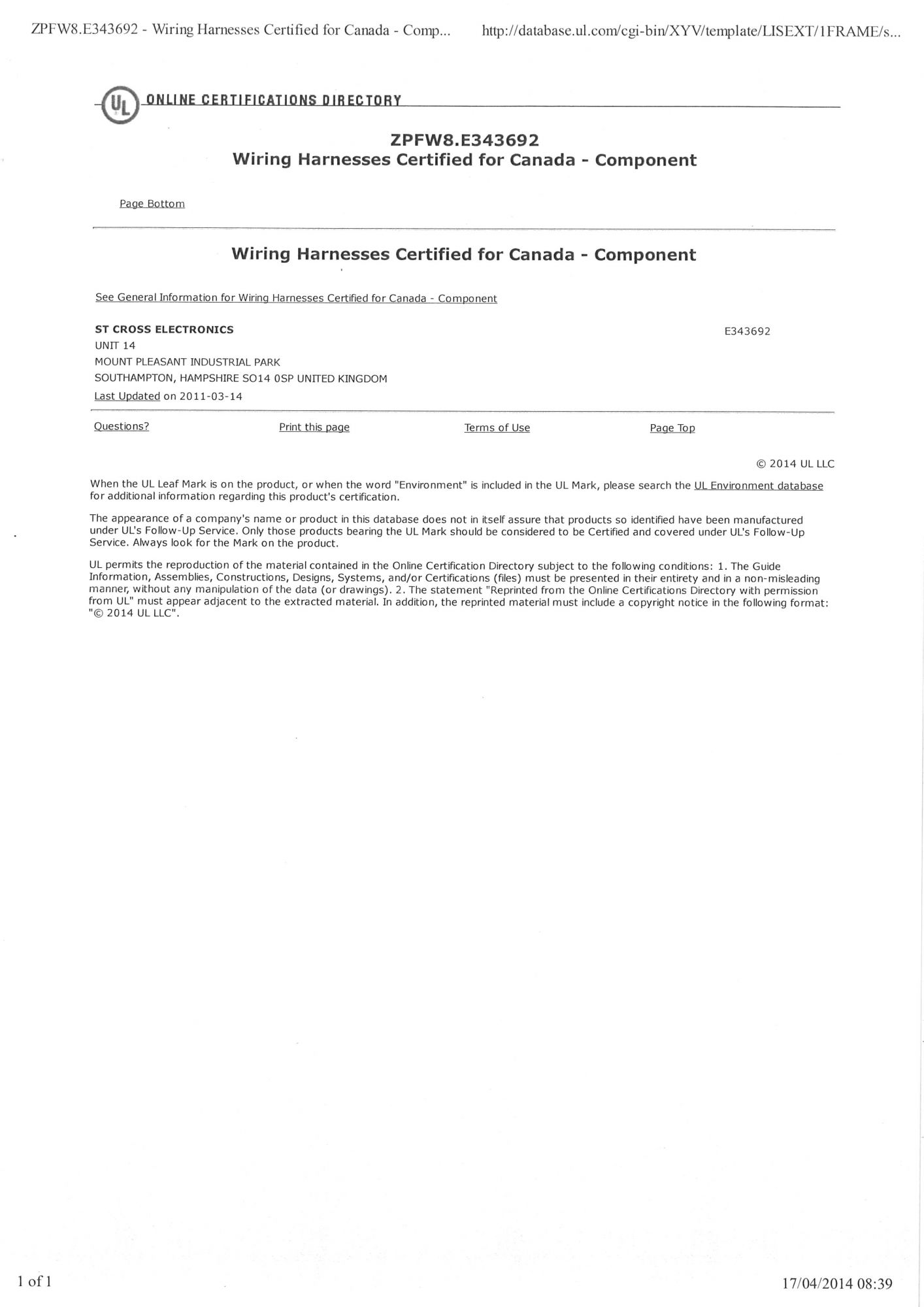 Ul And Iso Certification St Cross Electronics
